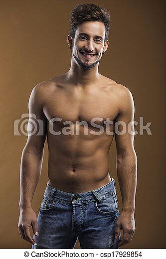Shirtless male smiling - csp17929854