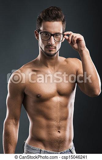shirtless, maschio, modello, bello - csp15046241