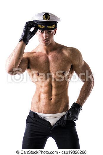 shirtless, muscular, marinero, náutico, macho, sombrero - csp19826268