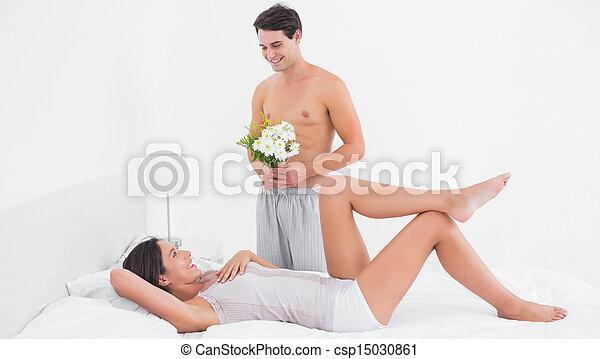 shirtless, uomo, offerta, fiori - csp15030861