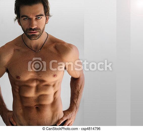 shirtless, uomo, sexy - csp4814796