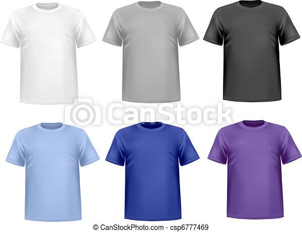 shirts., セット, 有色人種, vector. - csp6777469