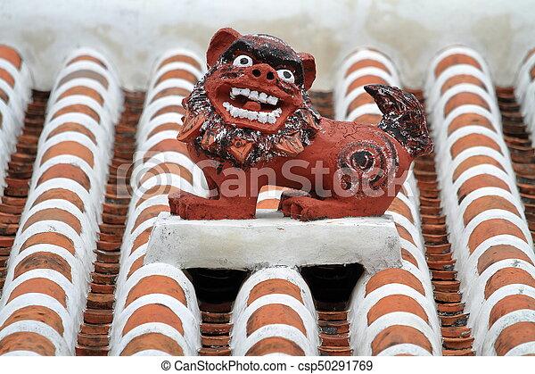 Shisa (guardian from Kingdom of Ryukyu) on the roof in Okinawa, Japan - csp50291769