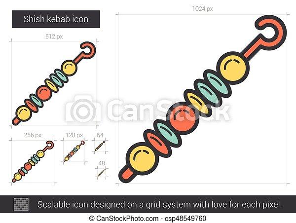 Shish Kebab Line Icon