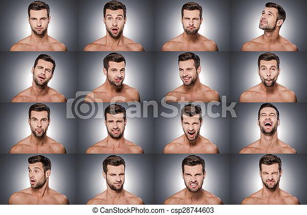 shitless, contra, diferente, emocional, jovem, fundo, colagem, emoções, series., posição homem, cinzento, expressar, enquanto - csp28744603