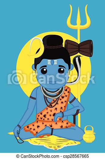 Shiva - indian god vector illustration.