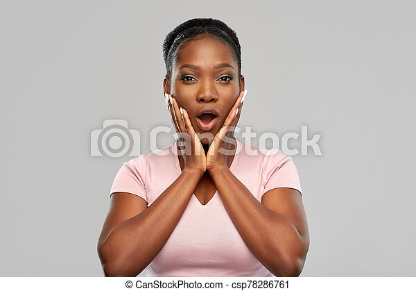 shocked african american woman with open mouth - csp78286761