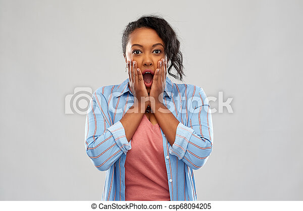 shocked african american woman with open mouth - csp68094205