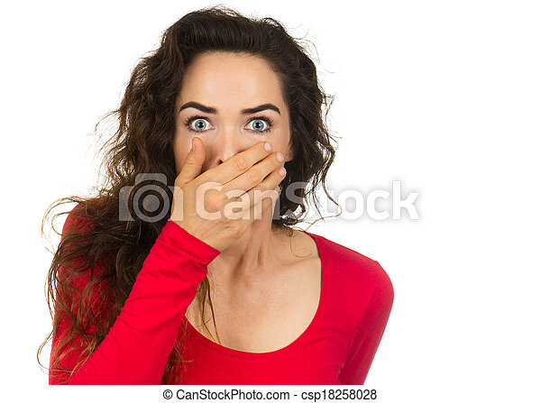 Shocked and frightened woman - csp18258028