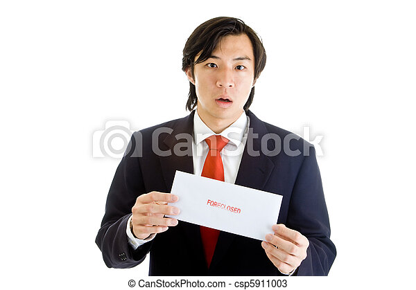 Shocked Asian Man Suit Holding Foreclosure Notice - csp5911003