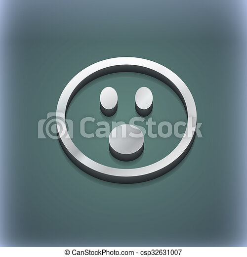 Shocked Face Smiley icon symbol. 3D style. Trendy, modern design with space for your text . Raster - csp32631007