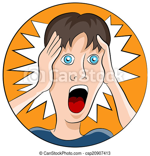 an image of a man with a shocked facial expression. vector clip art