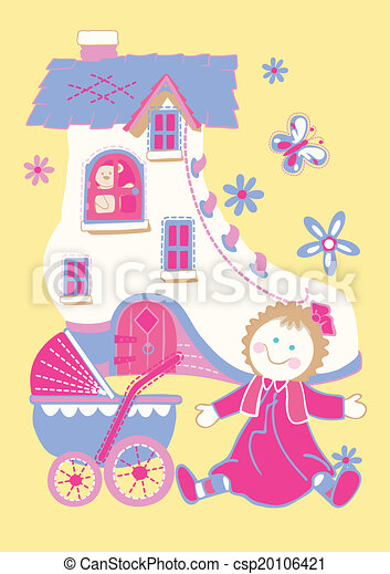 Shoe house with doll and butterfly. - csp20106421