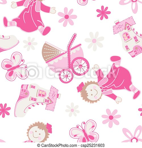 Shoe house with doll and pram seamless pattern - csp25231603