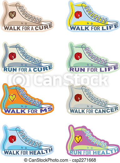 Shoe illustrations for various charities - csp2271668