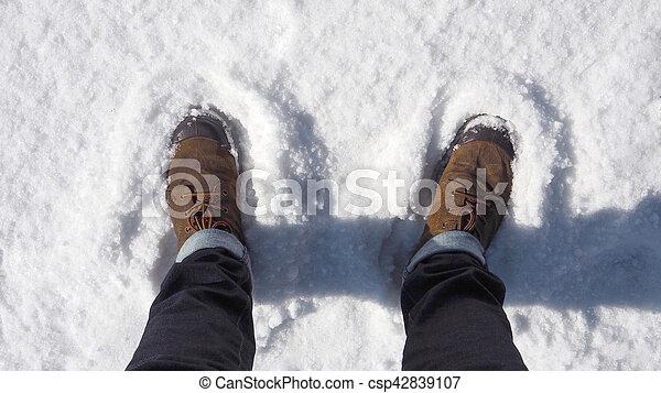 Shoe on the snow. - csp42839107