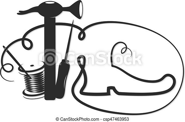 Line Art Shoes : Shoe repair symbol shoes and a set of tools silhouette clipart