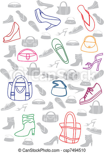 Shoes And Bags Background Seameless Background With Shoes And Bags