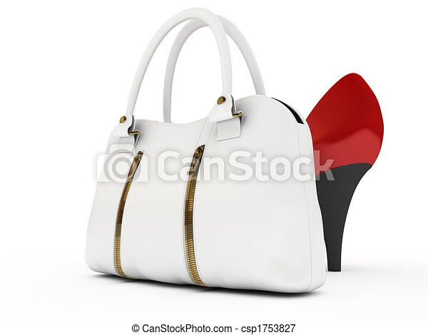 Shoes and handbag. Red shoes and white handbag on white ...