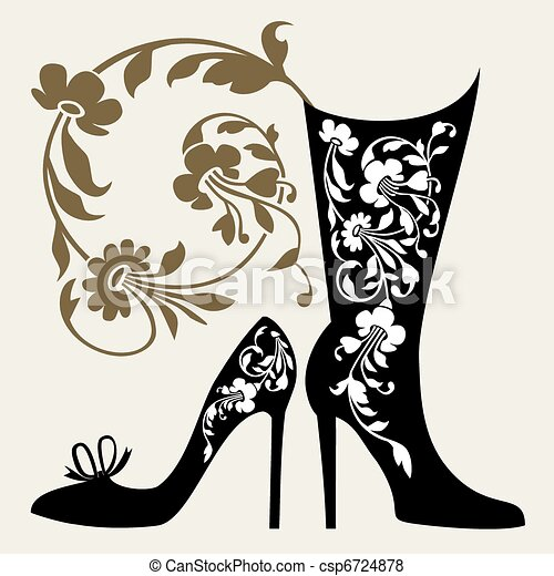 Shoes collection. Black silhouettes of womens shoes with ornaments. 6c2fb5dbc92