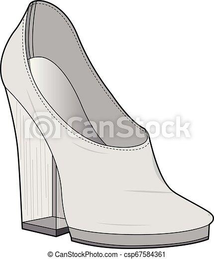 SHOES footwear design fashion flat sketch template - csp67584361