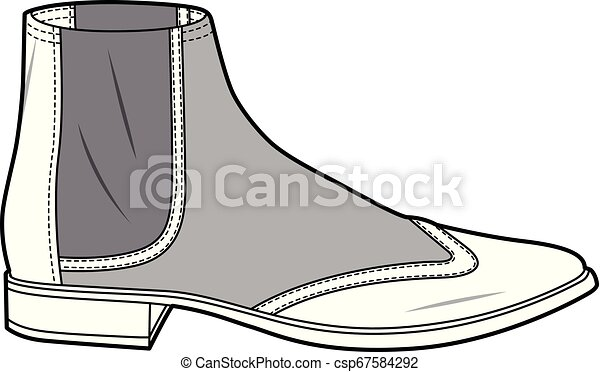 SHOES footwear design fashion flat sketch template - csp67584292
