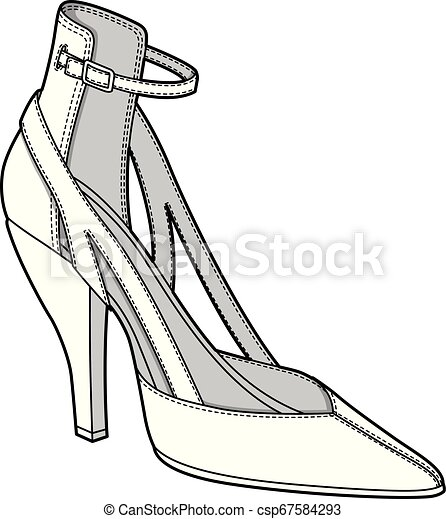 SHOES footwear design fashion flat sketch template - csp67584293