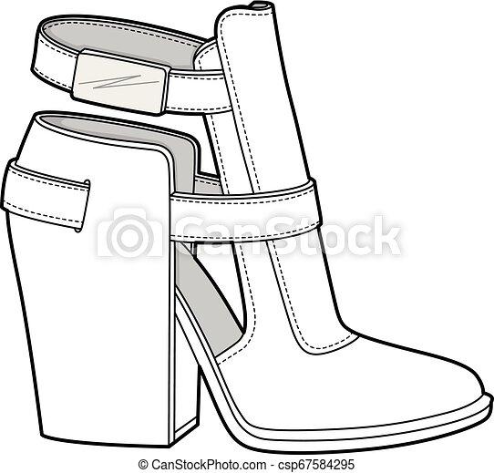 SHOES footwear design fashion flat sketch template - csp67584295