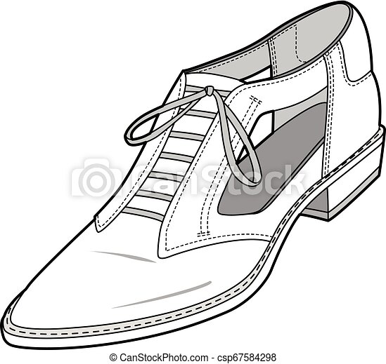 SHOES footwear design fashion flat sketch template - csp67584298