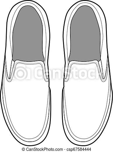 SHOES footwear design fashion flat sketch template - csp67584444