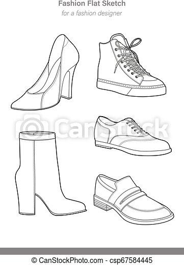 SHOES footwear design fashion flat sketch template - csp67584445