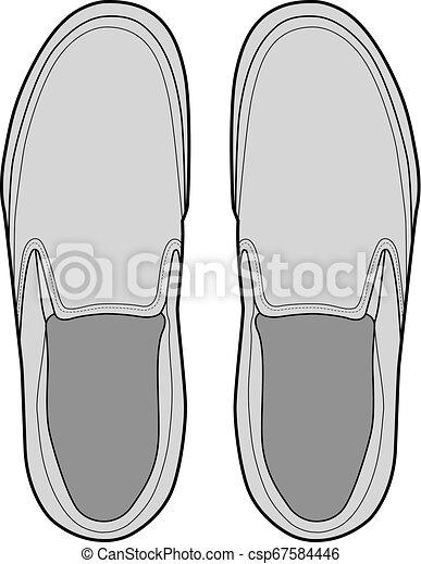 SHOES footwear design fashion flat sketch template - csp67584446