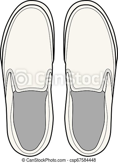 SHOES footwear design fashion flat sketch template - csp67584448