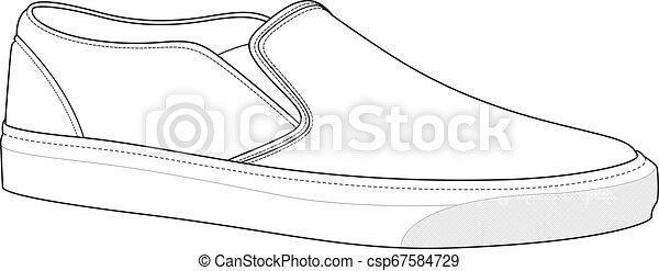 SHOES footwear design fashion flat sketch template - csp67584729