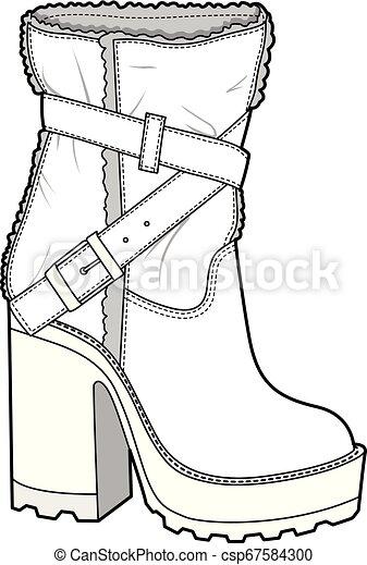 SHOES footwear design fashion flat sketch template - csp67584300