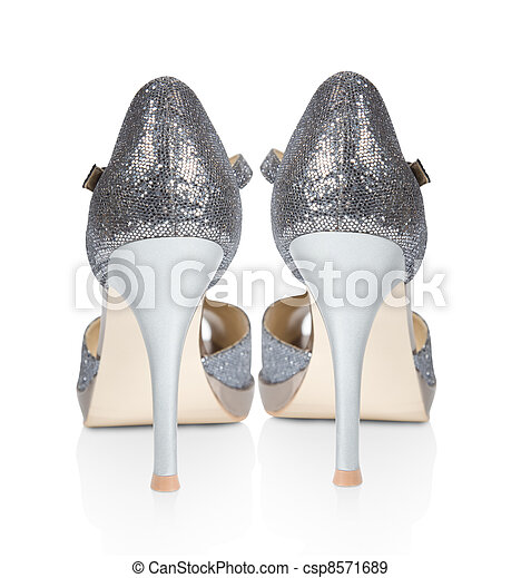 c8eb49b4c6d Shoes for ladies in high heels isolated on a white background. collage.