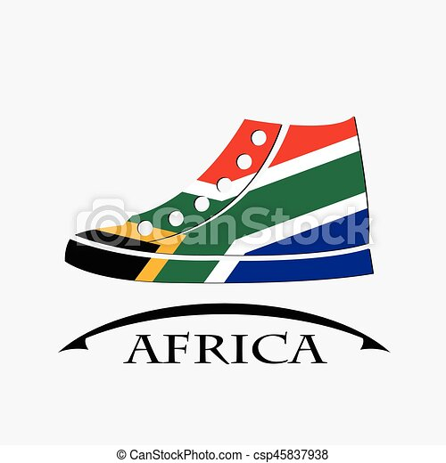 shoes icon made from the flag of Africa - csp45837938