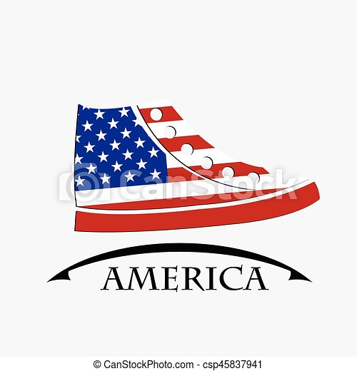 shoes icon made from the flag of America - csp45837941