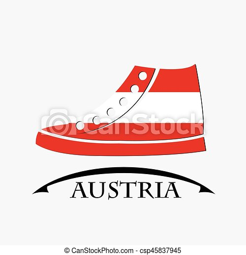 shoes icon made from the flag of Austria - csp45837945