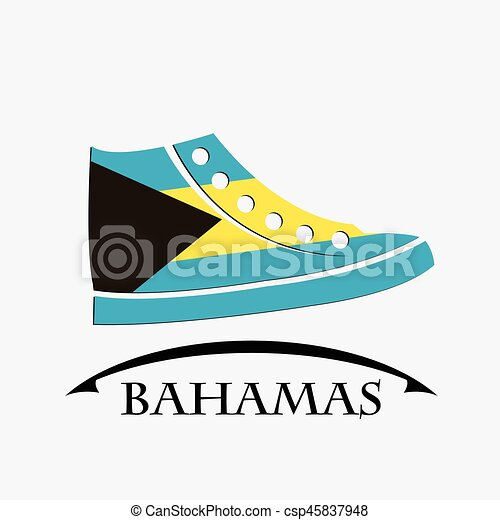 shoes icon made from the flag of Bahamas - csp45837948