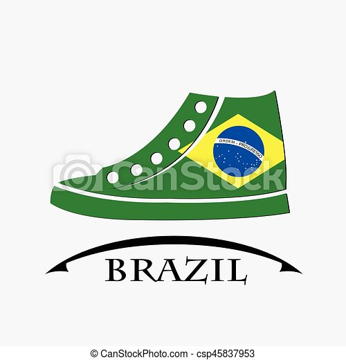 shoes icon made from the flag of brazil - csp45837953