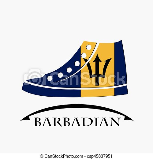 shoes icon made from the flag of Barbadian - csp45837951