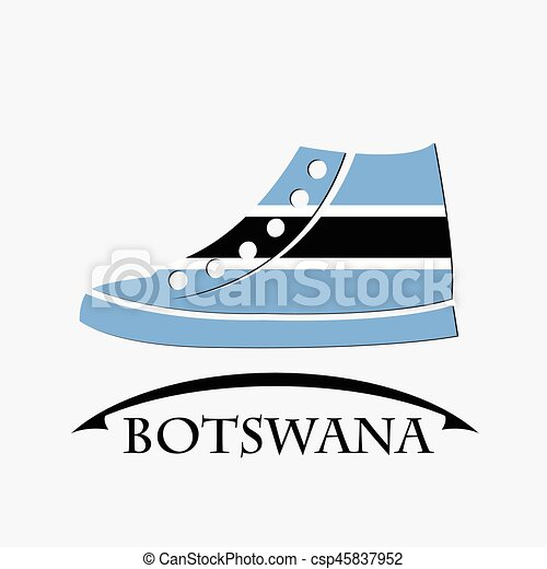 shoes icon made from the flag of Botswana - csp45837952