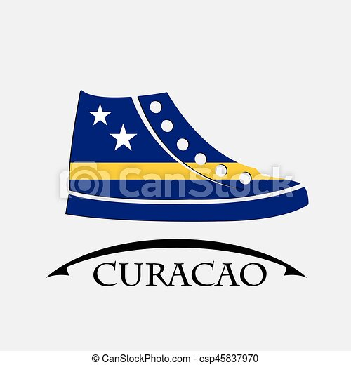 shoes icon made from the flag of Curacao - csp45837970