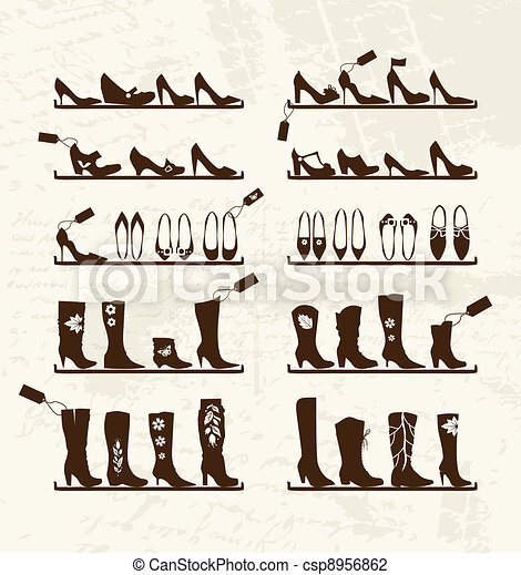 Shoes shop, boots on shelves, sketch for your design - csp8956862