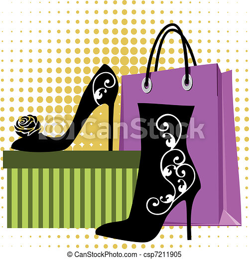 Shoes Shopping Black Silhouettes Of Womens Shoes With Ornaments