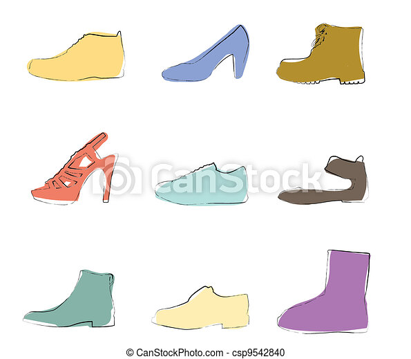 Shoes silhouettes artistic colors - csp9542840