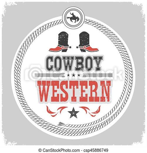 shoes, vaquero, oeste, etiqueta, decotarion, occidental, salvaje - csp45886749