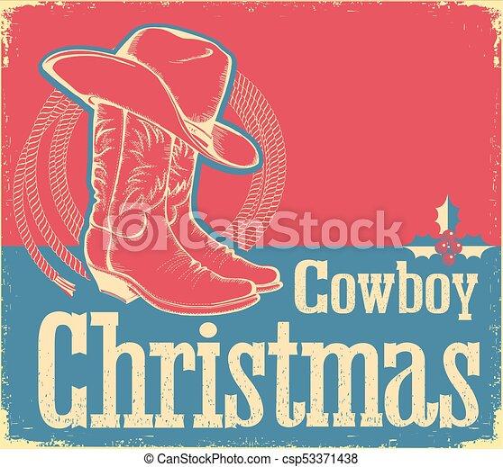 Tarjeta de Navidad con zapatos occidentales y sombrero - csp53371438