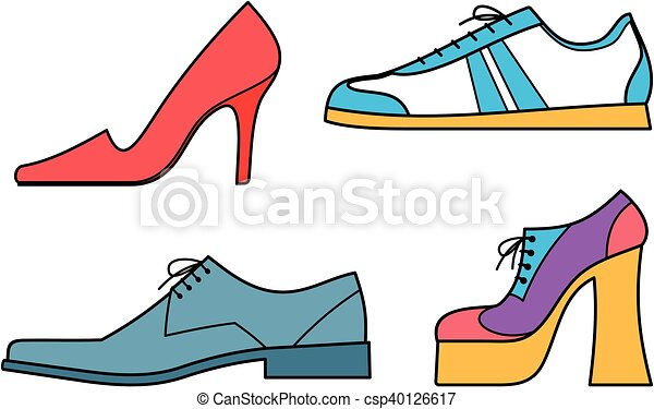 men s and women s shoes vector illustration vector clip art search rh canstockphoto ca shoes vector illustration shoes vector free